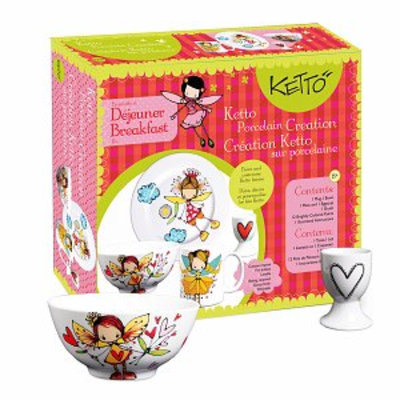 KETTO Paint-it-yourself Breakfast Set Fairy Theme Ages 8+, 1 ea