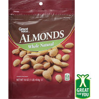 Great Value Whole Natural Almonds, 16 oz
