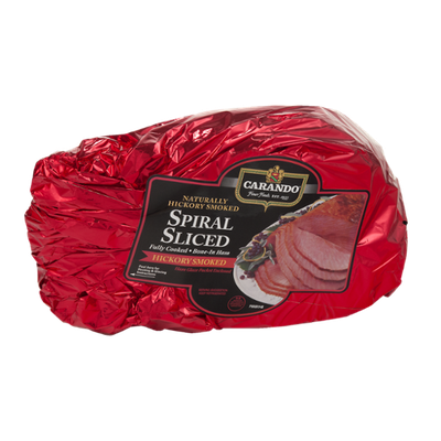 Carando Spiral Sliced Fully Cooked Bone-In Ham Hickory Smoked