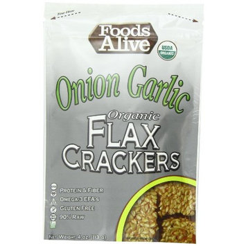 Foods Alive Golden Flax Crackers, Onion Garlic, 4-Ounce Pouches (Pack of 6)