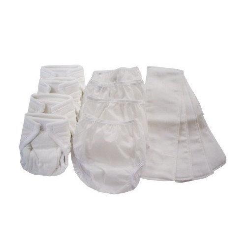 Dappi Pinless Cloth Diaper Bundle, White, Medium