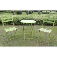 Shin Crest 3-Piece Folding Metal Patio Bistro Furniture Set - Green