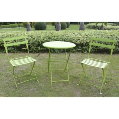 Shin Crest 3-Piece Folding Metal Patio Bistro Furniture Set - Green