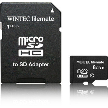 Wintec FileMate 3FMUSD8GBC10-R microSD Card 8GB Class 10 with SD Adapter, Black