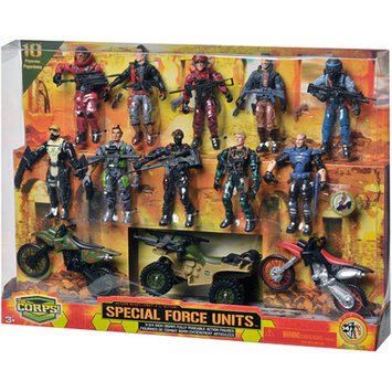 The Corps Special Forces 10 Figures and Vehicle Deluxe Set Ages 3 +, 1 ea