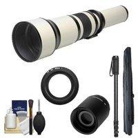Rokinon 650-1300mm f/8-16 Telephoto Lens (White) (T Mount) with 2x Teleconverter (=2600mm) + Monopod + Accessory Kit for Nikon 1 J1, J2 & V1 Digital Cameras