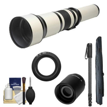 Rokinon 650-1300mm f/8-16 Telephoto Lens (White) (T Mount) with 2x Teleconverter (=2600mm) + Monopod + Accessory Kit for Nikon 1 J1, J2 & V1 Digital Cameras