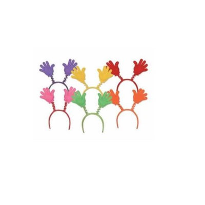 Party Central Club Pack of 12 Multi-Color Soft-Touch Hi-Five Hand Bopper Headband Party Favors