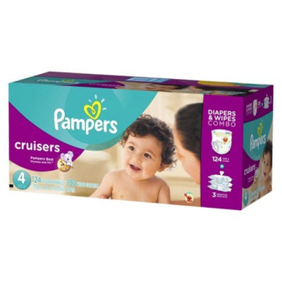 Pampers Cruisers Diapers & Sensitive Wipes Combo Pack: Size 4 (124