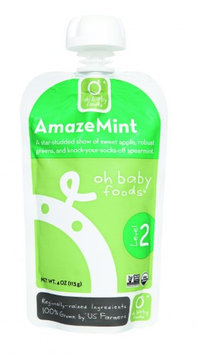 Oh Baby Foods Organic Baby Food - Textured Puree - Level 2 - AmazeMint - 4 oz, (Pack of 6)