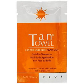 TanTowel Plus Self-Tanning Towelettes 6-pack Half Body Application for Face & Body