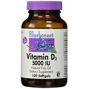 Bluebonnet Vitamin D3 5000 IU Vegetable Capsules, 100 Count