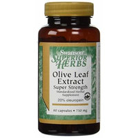 Swanson Super Strength Olive Leaf Extract 750 mg - 60 Caps (2 Pack)