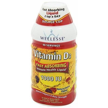 Wellesse Vitamin D3 Liquid, 1000 IU, Natural Berry Flavor, 16 OZ (Pack of 4)