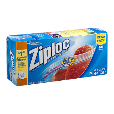 Ziploc Double Zipper Bags Gallon Freezer - 60 CT