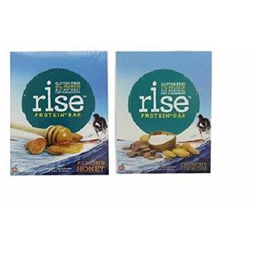 RiseBar: Protien Bundle-Almond Honey Box of 12 + Crunchy Carob Chip Box of 12