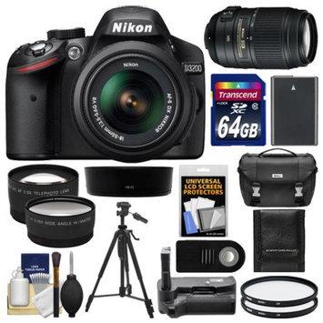 Nikon D3200 Digital SLR Camera & 18-55mm G VR DX AF-S Zoom Lens (Black) with 55-300mm VR Lens + 64GB Card + Case + Battery + Grip + Tripod + Lens Set + Filters Kit