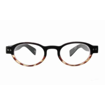 Calabria 4372 Bi-Color Oval Reading Glasses w/ Case in Black-Tortoise (+1.50)
