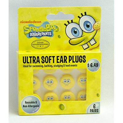 Spongebob Ultra Soft Ear Plugs (6 Pairs)