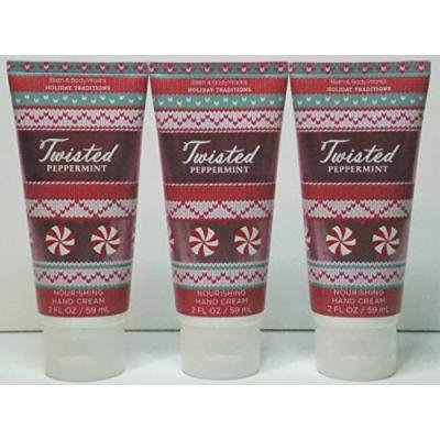 3 X Bath & Body Works Twisted Peppermint Nourishing Shea Butter Hand Cream 2oz (Set of Three)