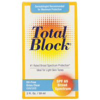 Fallene Total Block UVA/UVB Complete Broad Spectrum Sun Protection, SPF 65 Clear, 2 fl Ounces (59 ml)