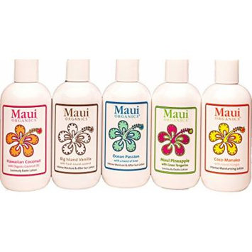 MAUI Organic Body Lotion Ultra-Intense Moisturizer Collection Gift Set - 5pk All the Natural Scents of Hawaiian Island Essence Body Lotions