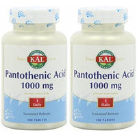 Pantothenic Acid 1000mg Timed Release Kal 100 Tabs (2 Pack)