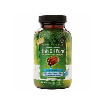 Irwin Naturals Double-Potency Fish Oil with Vitamin D3, Softgels 60 ea