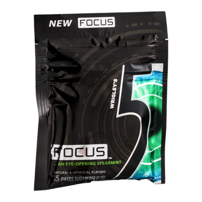 Wrigley's 5 Focus Sugarfree Gum Focus Eye-Opening Spearmint - 15 CT