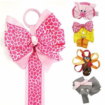 Allydrew Duck, Turkey, Elephant, Pig Ribbon Sculpture Hair Clips with Leopard Hair Bows & Hair Clips Organizer, Pink