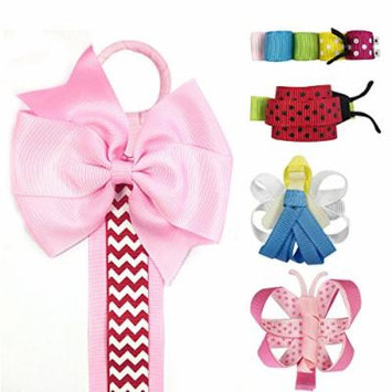 Allydrew Angel, Butterfly, Ladybug, Caterpillar Ribbon Sculpture Hair Clips with Chevron Hair Bows & Hair Clips Organizer, Pink