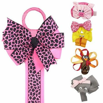 Allydrew Duck, Turkey, Elephant, Pig Ribbon Sculpture Hair Clips with Leopard Hair Bows & Hair Clips Organizer, Hot Pink