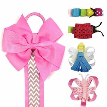 Allydrew Angel, Butterfly, Ladybug, Caterpillar Ribbon Sculpture Hair Clips with Chevron Hair Bows & Hair Clips Organizer, Hot Pink