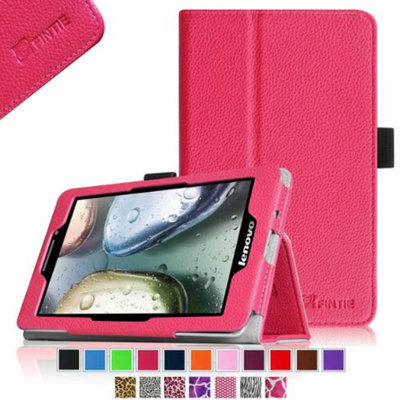 Fintie Lenovo IdeaTab S5000 7-Inch Android Tablet Folio Case - Premium Leather Cover Stand With Stylus Holder, Magenta