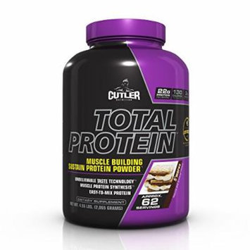 Cutler Nutrition Total Protein Muscle Building Sustain Protein Powder, S'mores, 5.09 Pound