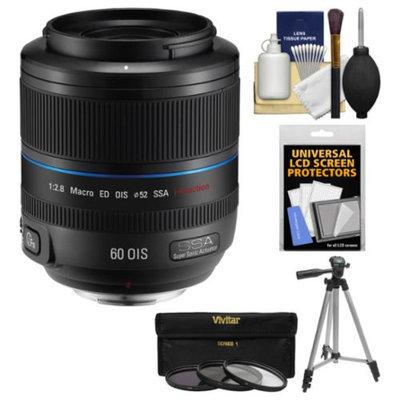 Samsung 60mm f/2.8 NX Macro ED OIS SSA Lens (Black) with Tripod + 3 Filters + Kit for Galaxy NX, NX30, NX210, NX300, NX2000, NX3000 Cameras