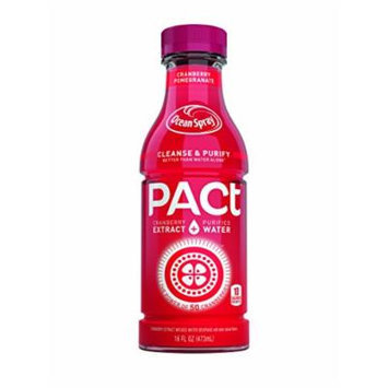 PACt Water, Pomegranate, Power of 50 Cranberries, Naturally Sweetened, 10 Calories per 16 Ounce Bottle (Pack of 12)