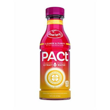 PACt Water, Mango Passionfruit, Power of 50 Cranberries, Naturally Sweetened, 10 Calories per 16 Ounce Bottle (Pack of 12)