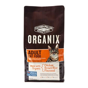 Castor & Pollux Organix Adult Dry Cat Food, 5.25 Pound Bag ( Chicken Brown Rice Flaxseed )