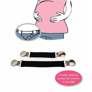 Belly Up! Bands--Maternity Waistband Extender, Pant Clips, Belly Bands, Pregnancy Expander Elastic (Set of 2)