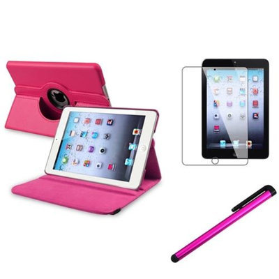 Insten iPad Mini 3/2/1 Case, by INSTEN For Apple iPad Mini 3rd 3 2nd 1 1st Gen Rotating PU Leather Case Cover Stand Hot Pink