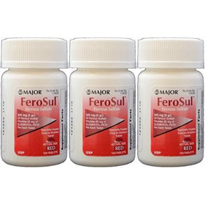 Ferrous Sulfate FC 325mg (5GR) Generic for Feosol Red Tablets 100 Tablets per Bottle 3 PACK Total 300 tablets