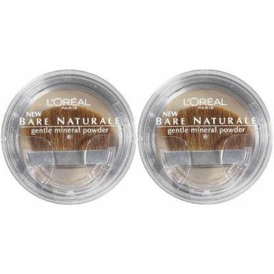 LOREAL Bare Naturale Gentle Mineral Powder Compact with Brush #416 NATURAL BEIGE (PACK OF 2)