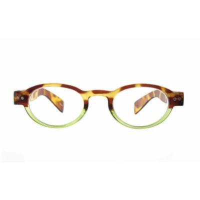 Calabria 4372 Bi-Color Oval Reading Glasses w/ Case in Tortoise-Green (+2.25)