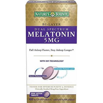 Natures Bounty Dual Spectrum Bi-Layer Melatonin Tablets, 5mg, 60 CT (PACK OF 3)