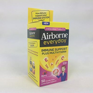 Airborne Everyday Immune Support Supplement and Multivitamin, Chewable Tablets, Berry Flavor, 50 CT (PACK OF 2)
