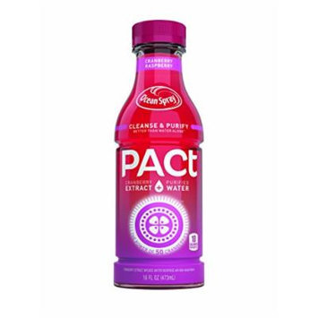 PACt Water, Raspberry, Power of 50 Cranberries, Naturally Sweetened, 10 Calories per 16 Ounce Bottle (Pack of 12)