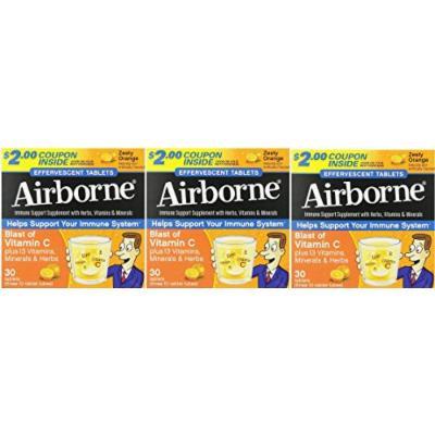 Airborne Vitamin C 1000mg Immune Support Supplement, Effervescent Formula, Orange, 30 Count (30 (3 Pack))