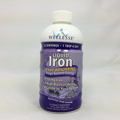 WELLESSE Liquid Mineral Supplement, Iron, 16 OZ (PACK OF 2)
