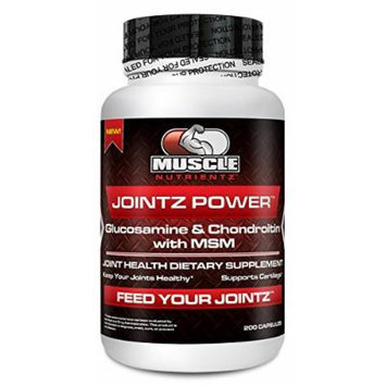 Muscle Nutrientz Triple Strength JOINTZ POWER 200 - Glucosamine 1500 mg - Chondroitin 1200 mg - MSM (Methylsulfonylmethane) 2000 mg - Joint Health Dietary Supplement (200 capsules)
